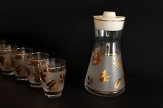 Vintage Mid Century Gold and Frosted Glass Autumn Leaf by Circa810, $24.00