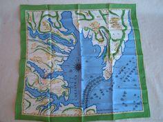 Vintage Grass Gree Souvenir Scarf of the Chesapeake Bay Area Williamsburg, Norfolk, Parti Du