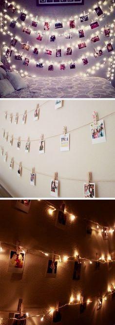 15 Teenage Girls Bedroom Decorating Ideas Polaroid Wall With String Lights   24 DIY Teenage Girl Bedroom Decorating Ideas http://www.coolhomedecordesigns.us/2017/06/09/15-teenage-girls-bedroom-decorating-ideas/