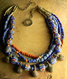 African Necklace Joruba Krobo Statement Nigerian by ChrysalisToo