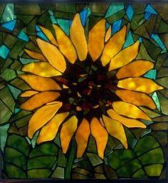 Stainglass Mosaics On Glass   Stained Glass & Mosaics / Sunflower Mosaic