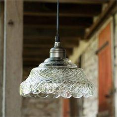 "- Pendant lamp - Cut-work Glass - 6.5"" x 8"" - 15 ft cord"