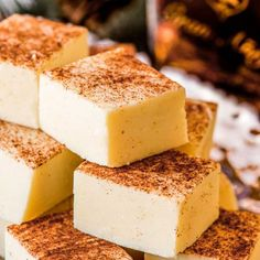 This white chocolate fudge is flavored with Don Q Gran Añejo, giving this rum fudge a taste of a classic hot buttered rum. Perfect for gifting! Fudge Recipes, Best Dessert Recipes, Candy Recipes, Fun Desserts, Chocolate Recipes, Sweet Recipes, Delicious Desserts, Butter Rum Candy Recipe, Sweets