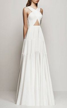 Desiree Satin Crepe Cross Panelled Gown by Alex Perry for Preorder on Moda Operandi