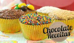 Cupcakes de chocolate com confeitos