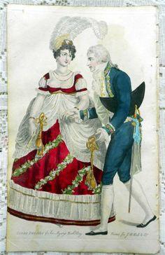1807 Beau Monde Regency Fashion Court Dress Lady & MAN RARE