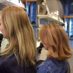 leikkaus ja väri; ennen ja jälkeen