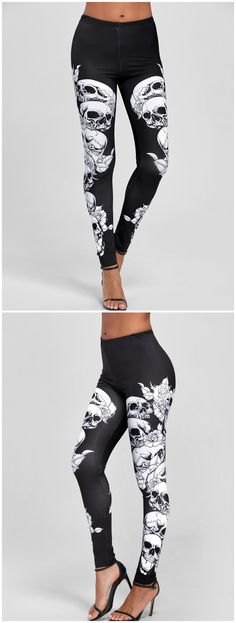 Skulls Print Skinny Pants - White And Black 2xl