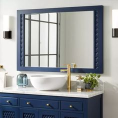 Buy the Signature Hardware 437251 Bright Navy Blue Direct. Shop for the Signature Hardware 437251 Bright Navy Blue Thorton x Framed Bathroom Mirror and save. Blue Bathroom Mirrors, Navy Blue Bathrooms, Nautical Bathrooms, Home Decor Mirrors, Bathroom Colors, Bathroom Ideas, Master Bathroom, Small Bathroom, Navy Blue Bathroom Decor