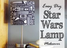 This DIY Star Wars lamp makeover couldn't be easier! It's the perfect unique decor to dress up your kid's room or your husband's man cave. Star Wars Room Decor, Star Wars Bedroom, Star Wars Lamp, Star Lamp, Awesome Bedrooms, Beautiful Bedrooms, Lamp Makeover, Star Wars Kids, Lamp Design
