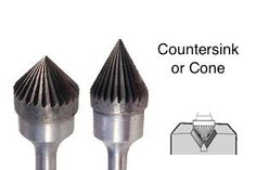 Carbide countersink burrs for chamferring and counterboring acute angles