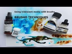Brusho Techniques - using iridescent mediums - how to paint in mixed media - YouTube