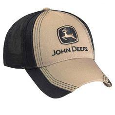 1c8b6010ae9 John Deere Khaki   Black Cloth   Mesh Cap