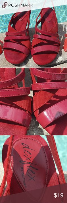 PRICE DROPPED!🌷DEXFLEX BY DEXTER🌷 Dress Sandals Stunning rich red dress sandals  Padded footbed  Comfortable to walk in  Patent heels with faux suede lining  Excellent used condition DEXTER Shoes Sandals