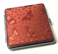 Shiny Red Butterfly Design CIGARETTE KING SIZE CASE Approx 18 - 20 Cigarettes