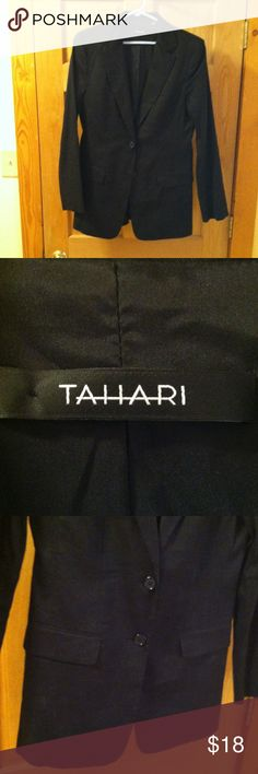Tahari size 8 lightweight black suit coat 2 button Very nice, black, lightweight Tahari suit coat.  Size 8.  This is a longer style suit coat. Tahari Jackets & Coats Blazers