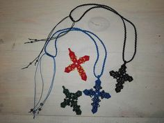Macrame Cross Decorated with Beads