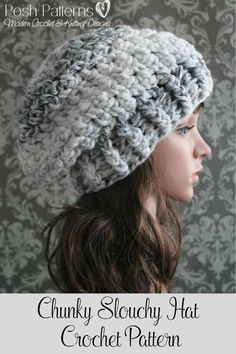 Crochet Pattern - An elegant and cozy crochet slouchy hat pattern. It's worked with a chunky yarn and a big hook, so it's a quick and easy project. Perfect for all ages and genders. By Posh Patterns.
