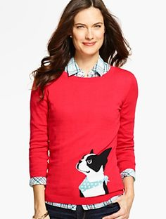 Talbots - Boston Terrier Sweater | | Misses Discover your new look at Talbots. Shop our Boston Terrier Sweater for stylish clothing and accessories with a modern twist at Talbots