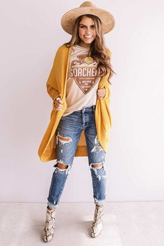 """New Love Waffle Knit Cardigan in Golden Honey This adorable golden honey colored cardigan is sure to be your """"new love"""" with its soft lightweight material featuring w. Cute Teen Outfits, Cute Outfits For School, Boho Outfits, Outfits For Teens, Autumn Winter Fashion, Bohemian Fall Fashion, Fall Winter, Waffle Knit, A Boutique"""