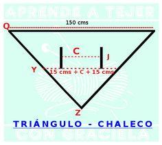 Para hacer éste triángulo chaleco vamos a necesitar: Materiales: 300 grs de hilo fino (aprox. según el talle) aguja de crochet 2.5   o  3.00 Punto empleado:   1.   var,  * 2 cad, 2 var,*   2.   var,   *1 cad, 1 mp, 1 cad, …