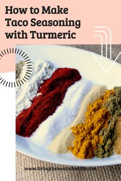 This taco spice mix has just the right amount of heat, plus a kick of health benefits from our favorite ingredient: turmeric! #turmericrecipes #tacoseasoning #spicemixrecipes Gluten Free Taco Seasoning, Taco Seasoning Mix Recipe, Great Recipes, Whole Food Recipes, Snack Recipes, Favorite Recipes, How To Make Taco, How To Make Homemade, Taco Spice Mix