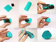 Turquoise cane (you can surely use less than a full block of turquoise colored clay to do this cane!!!!) by galka_vasina, via Flickr