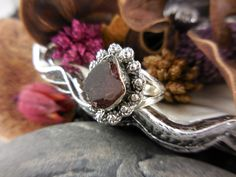 Garnet Rough Sterling Silver Ring - Size 6.25
