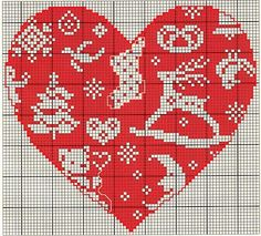 ♥ christmas heart cross stitch with reindeer, tree, stocking Xmas Cross Stitch, Cross Stitch Boards, Cross Stitch Needles, Cross Stitch Heart, Cross Stitching, Cross Stitch Embroidery, Cross Stitch Patterns, Christmas Hearts, Christmas Cross