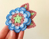 Delicate crocheted flower brooch, vintage yarn, corsage, unique to BinkleBlossoms, free shipping to the US, UK, Canada, Australia and Oman!