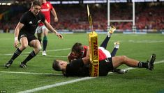 The Lions thought they had the ideal start when Elliot Daly tried to score in the corner, . British And Irish Lions, Auckland, New Zealand, Corner, Tours