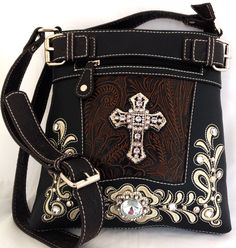Western Cross Body Handbag w/ Embroidery, Crystal Cross & Concho | The Wanted Wardrobe Boutique