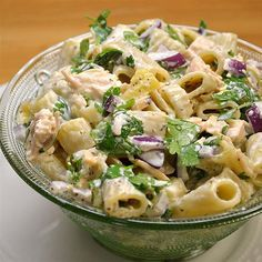Classic Macaroni Salad with a Twist | Pineapple, chicken and cilantro are in this macaroni salad dressed in mayonnaise.