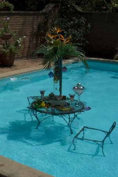 Dive right in!  Outdoor table setting right in the pool!  What a fun garden party idea!