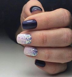Short Acrylic Nail Designs # Pretty nails for party season and winter nails. Look good at a party especially christmas nails! Trendy Nails, Cute Nails, My Nails, Pretty Gel Nails, Blue Gel Nails, Glitter Fade Nails, Navy Blue Nails, Short Gel Nails, Glitter Force