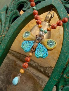 BUTTERFLY bohemian necklace with LARIMAR teardrop natural beads