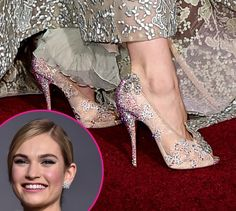 Lily James  Cindrella2015 with #ElieSaab dress and #Louboutins shoes !