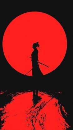 Japanese Art Samurai, Japanese Artwork, Japanese Tattoo Art, Samurai Artwork, Illustration Art, Illustrations, Red Wallpaper, Red Art, Japan Art