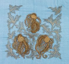 Gold thread embroidery sample attributed to Sarah Lipska, a designer of Polish descent.