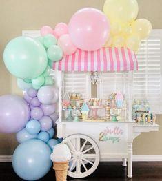 Candy Theme Birthday Party, Baby Girl Birthday Cake, Girls Birthday Party Themes, Birthday Balloons, Ice Cream Theme, Ice Cream Party, Candyland, Ice Cream Station, Ice Cream Balloons
