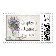 Rustic Country Mason Jar Lace n Lavender Floral Stamps