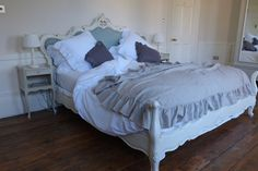 Ruffled Linen Bed Throw  Beige White or Dove by oscarandfrench