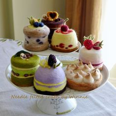 Made to order needle felted cakes. These yummy cakes look good enough to eat! They are all in life size approx. to 3 inches in diameter and 3 Felt Cake, Felt Play Food, Wool Needle Felting, Individual Cakes, Good Enough To Eat, Food Crafts, Felt Diy, Felt Dolls, Yummy Cakes