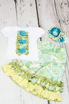 Girls Ruffled Pants set Spring and Easter set by PoshPalace, $60.00