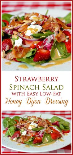Strawberry Spinach Salad with Goat Cheese & Honey Dijon Dressing - with bacon & almonds is one of the most deliciously flavourful salads  you will ever eat.