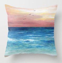 Throw Pillow Beach Cushion Case Ocean Sea View 269 Art Painting By L Dumas