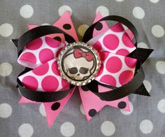 Monster High Stacked Boutique Hair Bow by PinUpRetroCrafts on Etsy