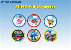 SUPER WINGS Decor Toppers Digital   printable by BolleBluParty