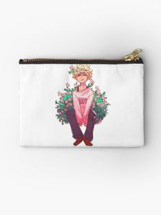 A cute doodle of Bakugou surrounded by pink flowers. My Hero Academia Merchandise, My Hero Academia Memes, My Hero Academia Manga, Boku No Hero Academia, Pokemon, Cute Pins, Pink Flowers, College Room Decor, Anime