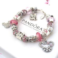 Authentic Pandora Bracelet Pink Love Mickey Mouse Wish Crystal Murano Charm Bead #Pandora #European
